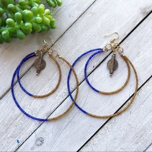 Blue and Gold Double Hoop Earrings